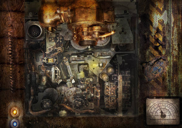 Hdr Art Print featuring the photograph Steampunk - The Turret Computer by Mike Savad