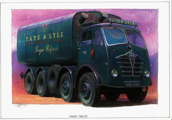 Lorry Art Print featuring the painting Tate And Lyle Foden. by Mike Jeffries