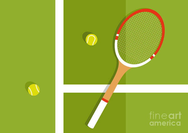 Heat Art Print featuring the digital art Tennis Racquet And Balls Are On The by Ilya Glukhov
