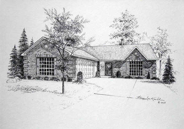 Homes Art Print featuring the drawing Texas Home 1 by Hanne Lore Koehler
