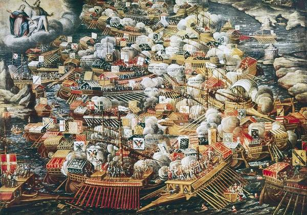 Horizontal Art Print featuring the photograph The Battle Of Lepanto, 7th October by Everett