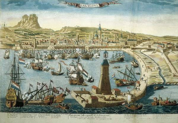 Horizontal Art Print featuring the photograph The City And Port Of Barcelona 18th C by Everett