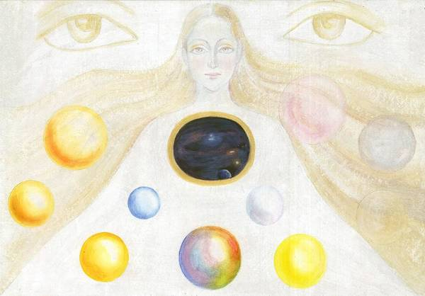 Discovery Of The Cosmic Spirit Art Print featuring the painting The Discovery Of The Cosmic Spirit by Shiva Vangara