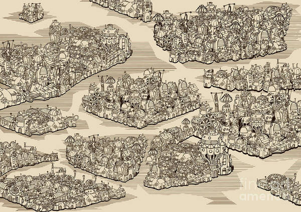 Mountains Art Print featuring the digital art The History We Never Had. Map by Ryger