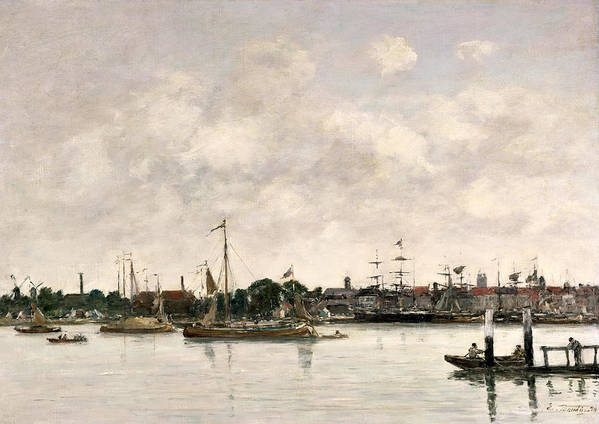 The Meuse At Dordrecht Art Print featuring the painting The Meuse At Dordrecht by Eugene Louis Boudin