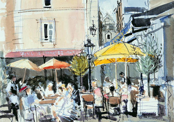 Cafe; Restaurant; French; Open Air; Dining; Eating; Al Fresco; Courtyard; Tables; Umbrellas; Brittany; Shade; Parasols; Terrace Art Print featuring the painting The Square At St. Malo by Felicity House