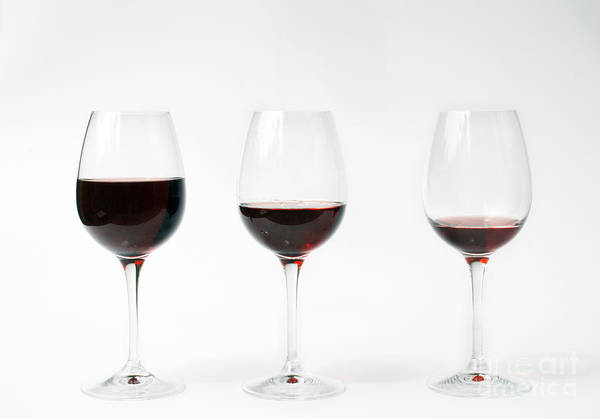 Three Art Print featuring the photograph Three Glasses Of Wine by Patricia Hofmeester