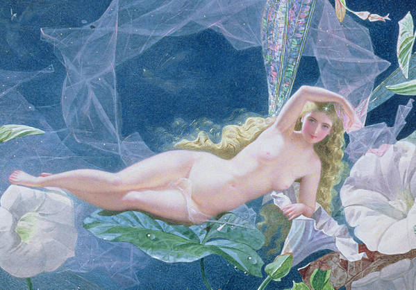 A Midsummer Night's Dream Art Print featuring the painting Titania Lying On A Leaf by John Simmons