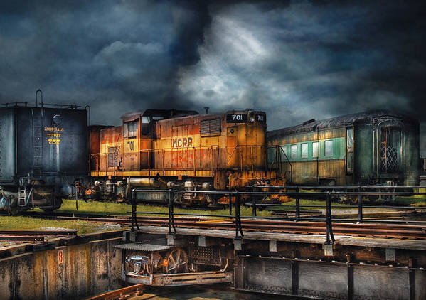 Savad Art Print featuring the photograph Train - Let's Go For A Spin by Mike Savad