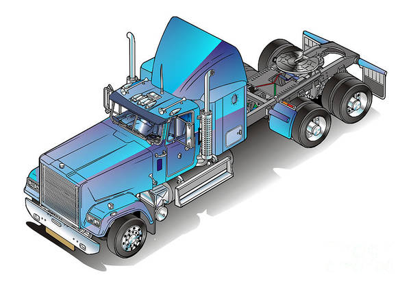 Truck Art Print featuring the painting Us Heavy Truck by Christian Simonian