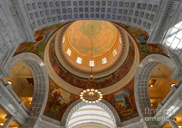 Utah Art Print featuring the photograph Utah State Capitol Rotunda Interior Archways by Gary Whitton