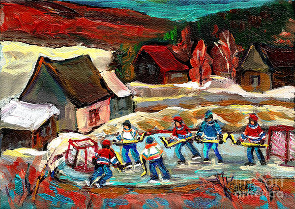 Vermont Art Print featuring the painting Vermont Pond Hockey Scene by Carole Spandau