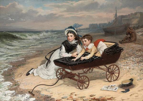 What Are The Wild Waves Saying; Character; Characters; Florence Dombey; Paul Dombey; Male; Female; Child; Children; Childhood; Victorian; Dickensian; Seaside; Beach; Young; Perambulator; Sentimental; Pram; Windy; Rough; Coast; Coastal; Sound; Noise; Surf; Crashing; Listening; Seated; Tide; Sea Foam; Carriage; Stroller Art Print featuring the painting What Are The Wild Waves Saying? by Charles Wynne Nicholls