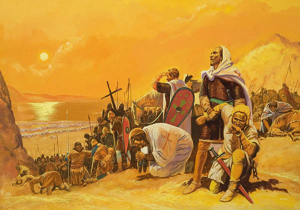 Orange; Soldier; Middle East; Heat; Sun; Cross; Christianity; Christendom; Suffering; Exhaustion; Water; Land; Desert; Shield; Armour; C11th; Croisades; Holy War; Arid; Parched; Harsh Conditions; Male; Children's Illustration Art Print featuring the painting The Crusades by Gerry Embleton