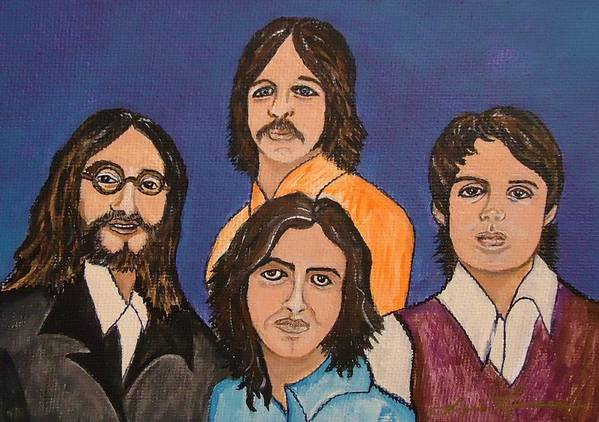 Singers Art Print featuring the painting The Fab Four Beatles by Lois  Rivera