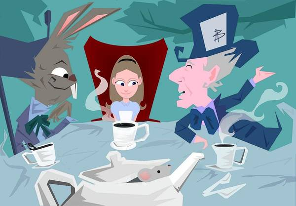 Alice In Wonderalnd~a Mad Tea Party Mad Hatter March Hare White Rabbit Lewis Caroll Fantasy Childrens Books Fairy Tales Doormouse Tea Raven Mad Tea Cups Tea Pot Unbirthday Chesire Cat Art Print featuring the digital art 'a Mad Tea Party' by Bryan Rhoads