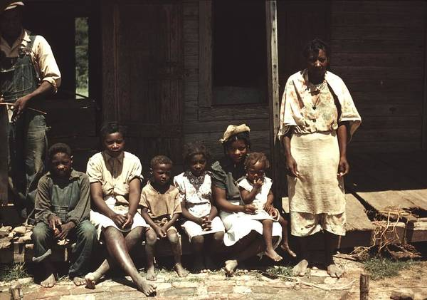 History Art Print featuring the photograph A Rural African American Family Seated by Everett