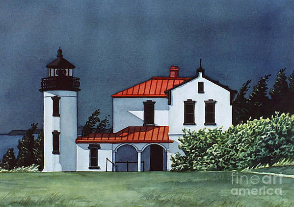 Lighthouse Art Print featuring the painting Admiralty Head Light by Scott Nelson