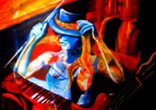 Musicians Art Print featuring the painting All That Jazz by Denise Cassidy
