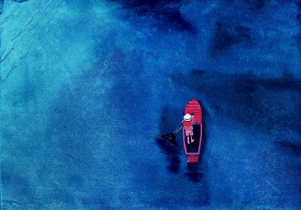 Boat Art Print featuring the painting Alone 1 by Anil Nene