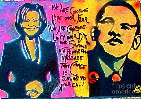 Barack Obama Print featuring the painting Barack And Michelle by Tony B Conscious