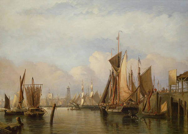 Docked Boats Print featuring the painting Billingsgate Wharf by John Wilson Carmichael