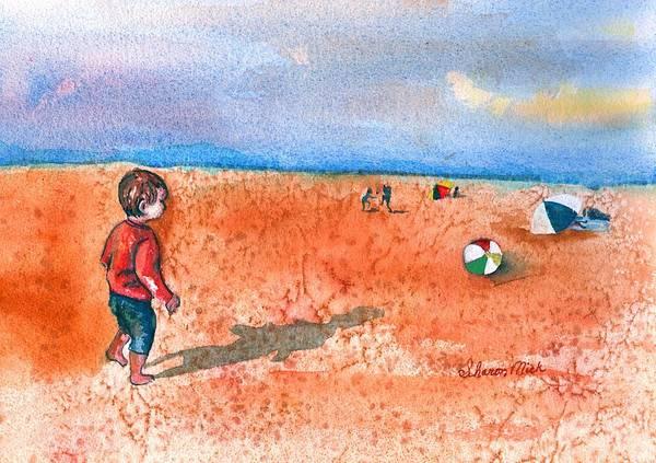 Boy At Beach Playing And Chasing Ball Art Print featuring the painting Boy At Beach Playing And Chasing Ball by Sharon Mick