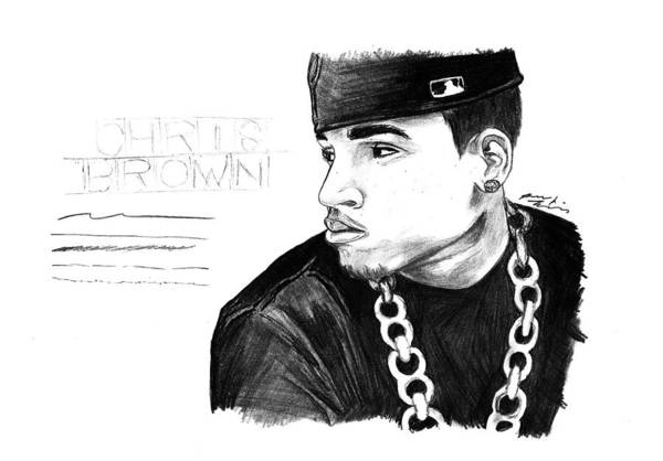 Chris Brown Drawing Art Print featuring the drawing Chris Brown Drawing by Kenal Louis