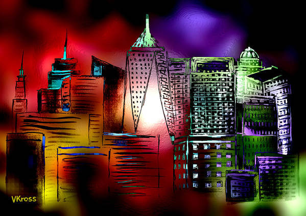 Cityscape Art Print featuring the painting Cityscape 3 by Valentina Kross
