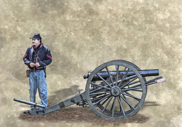 Army Of The Potomac Art Print featuring the digital art Civil War Union Artillery Corporal With Cannon by Randy Steele