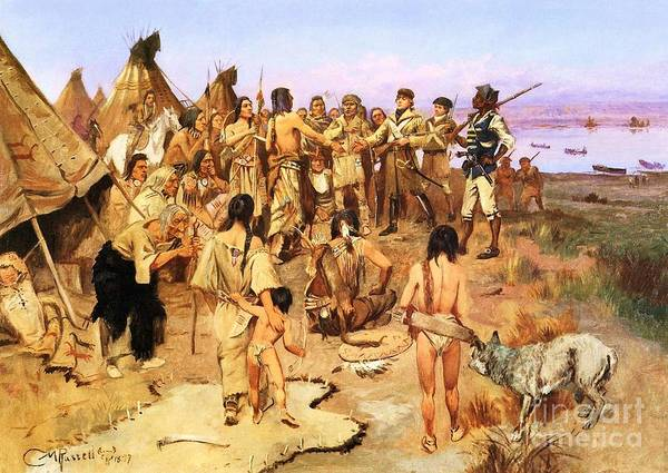 Reproduction Art Print featuring the painting Clark Meets Northwest Indians by Pg Reproductions
