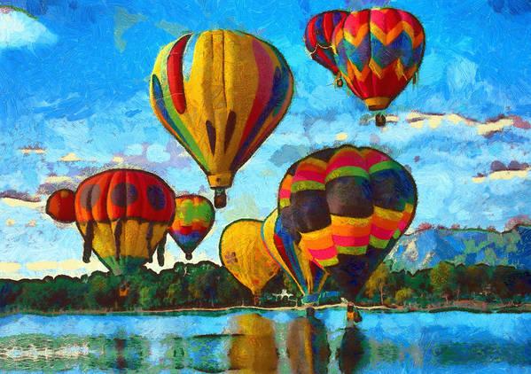 Hot Air Balloons Art Print featuring the mixed media Colorado Springs Hot Air Balloons by Nikki Marie Smith