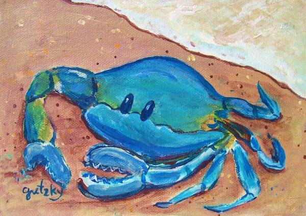 Gretzky Art Print featuring the painting Crab On The Beach by Paintings by Gretzky
