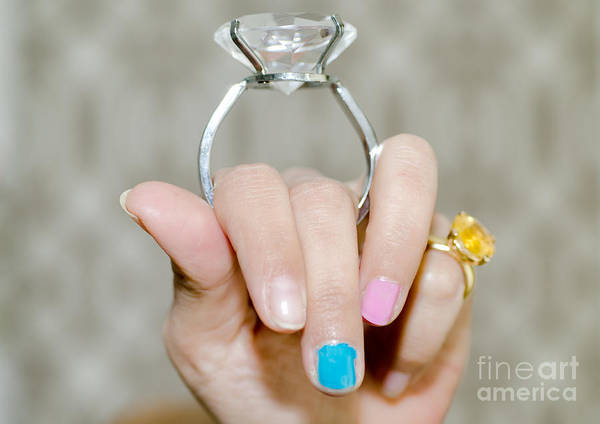 Woman Art Print featuring the photograph Diamond Ring by Mats Silvan