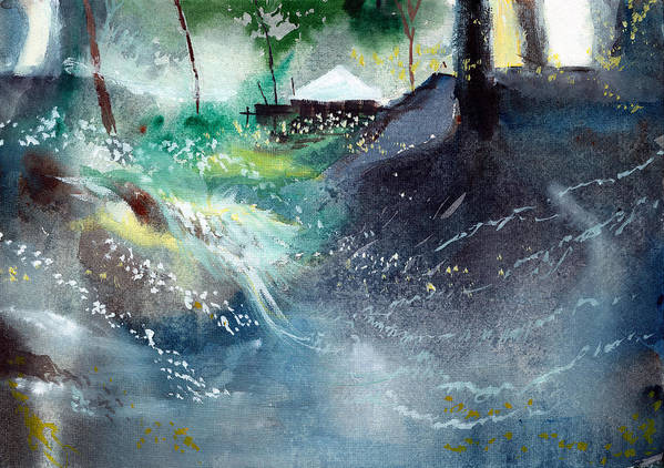 Nature Art Print featuring the painting Dream House 2 by Anil Nene