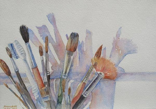 Watercolor Painting Brushes Art Print featuring the painting Favorite Tools by Meenakshi Karmakar