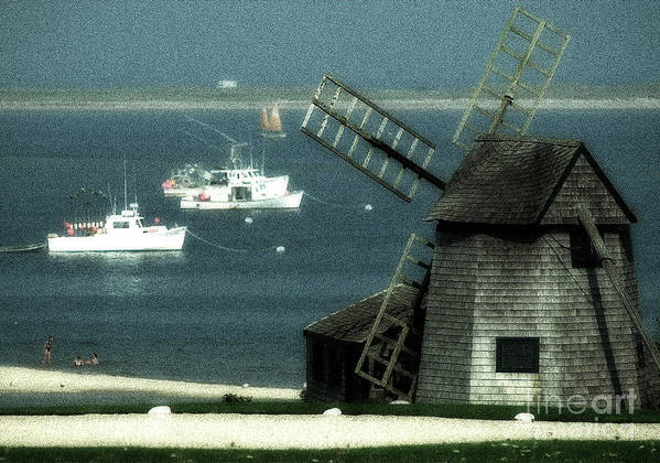 Fishing Boats Art Print featuring the photograph Fishing Boats And Windmill In Chatham On Cape Cod Massachusetts by Matt Suess