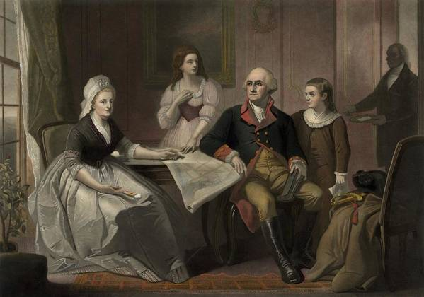 History Art Print featuring the photograph George And Martha Washington Sitting by Everett