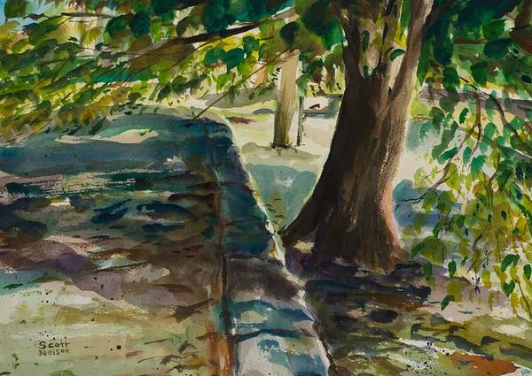 Watercolor Art Print featuring the painting Grafton Wall by Scott Nelson
