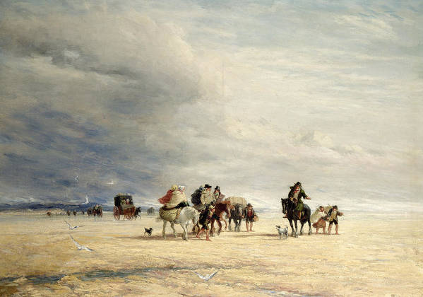 Lancaster Sands Art Print featuring the painting Lancaster Sands by David Cox