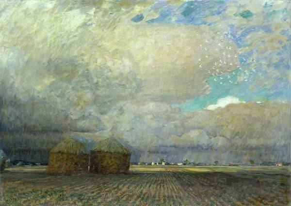 Field; Ploughed; Hut; Shack; Thatched; Thatch; Cloudy; Sky; Menacing; Brooding; Stormy; Flat; Horizon; Clouds; Agriculture Art Print featuring the painting Landscape With Huts by Leopold Karl Walter von Kalckreuth