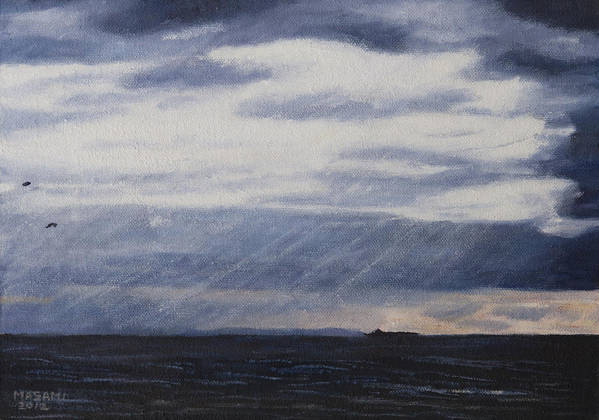 Sea Art Print featuring the painting Light Through The Clouds by Masami Iida
