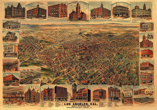 Panoramic Map Art Print featuring the digital art Los Angeles California 1891 by Donna Leach