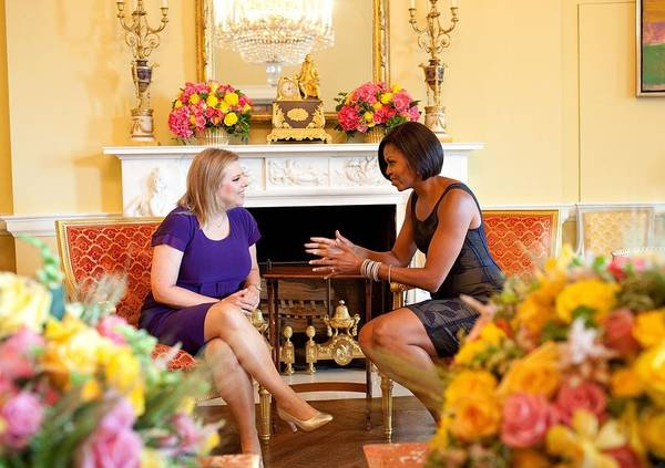 History Print featuring the photograph Michelle Obama Has Tea With Sara by Everett