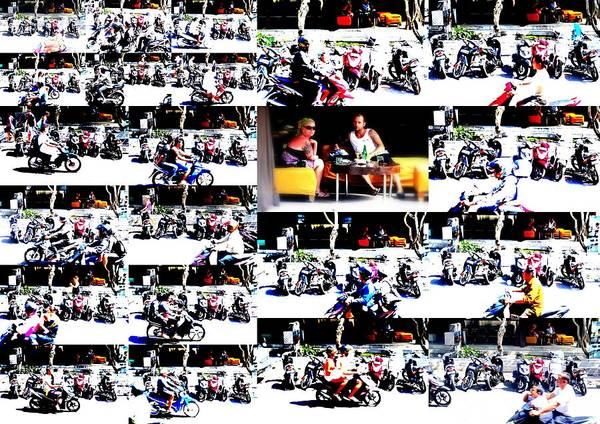 Bali Art Print featuring the photograph Motorbike Watching On Ubud Streets  by Funkpix Photo Hunter