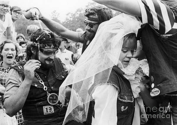 1969 Art Print featuring the photograph Motorcycle Club Wedding by Granger