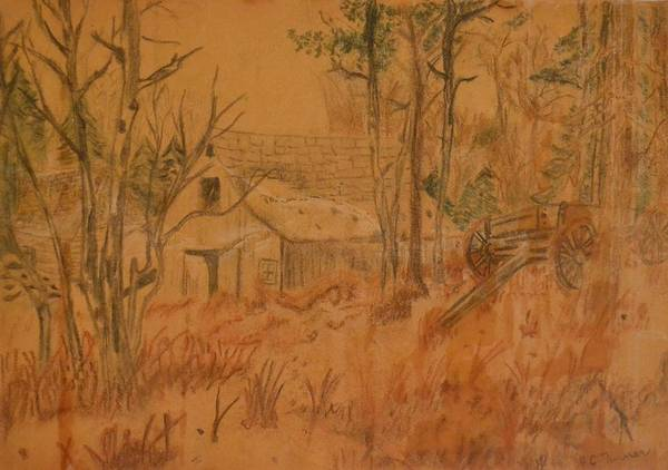 Farm Print featuring the drawing Old Farm by Carman Turner