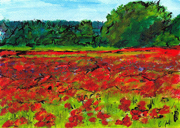Italy Art Print featuring the painting Poppy Fields Tuscany by Jackie Sherwood