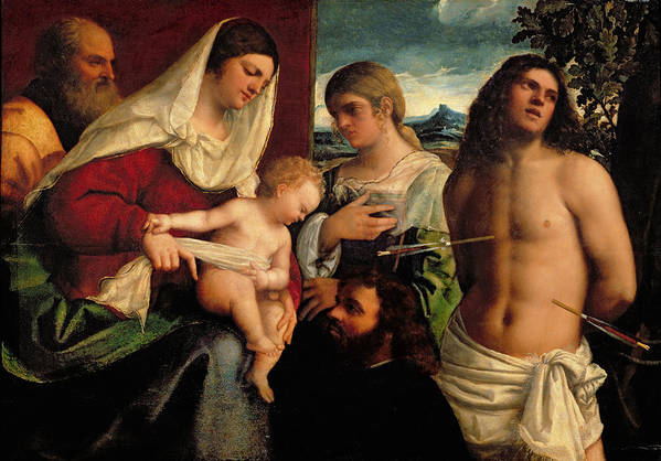 Arrow; Donor; Saint; Jesus; Mary Art Print featuring the painting Sacra Conversatione With Ss Catherine Sebastian And Holy Family by Sebastiano de Piombo