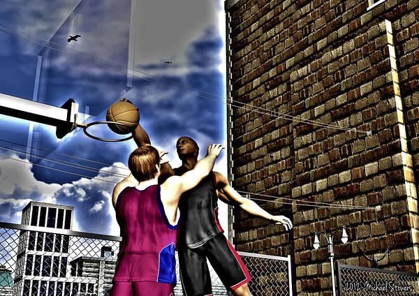 Basketball Art Print featuring the digital art Slammed by Michael Stowers